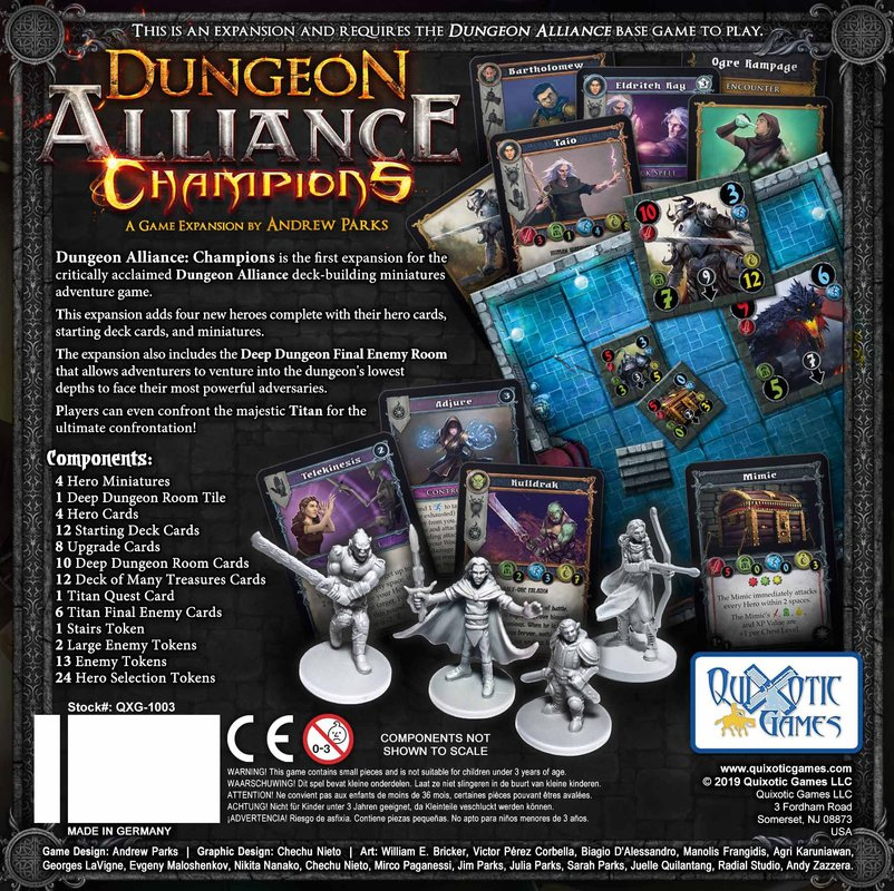 Dungeon Alliance: Champions back of the box