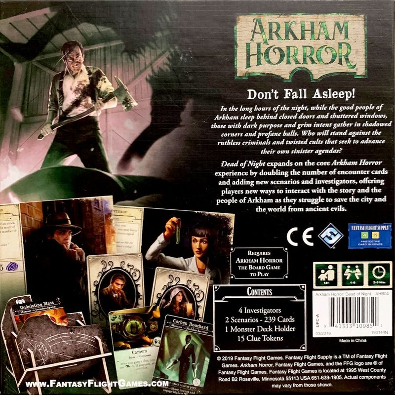 Arkham Horror (Third Edition): Dead of Night back of the box