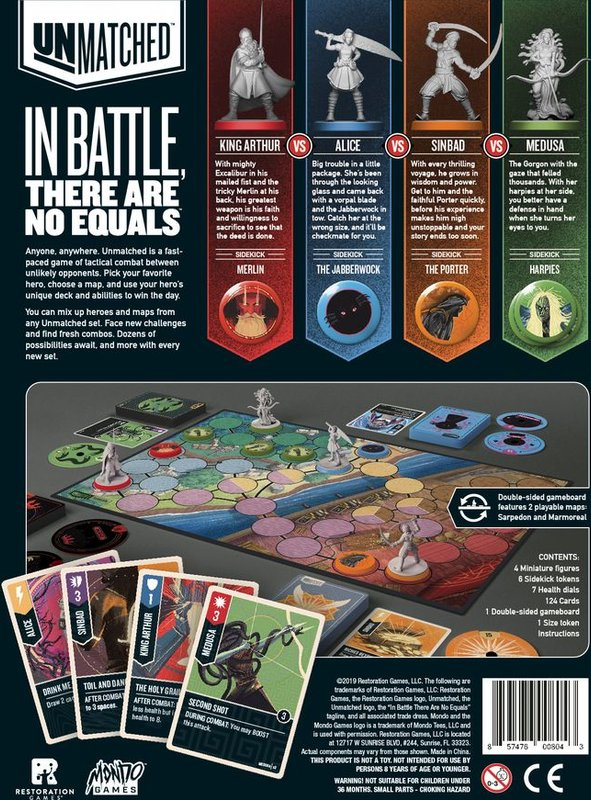 Unmatched: Battle of Legends, Volume One back of the box