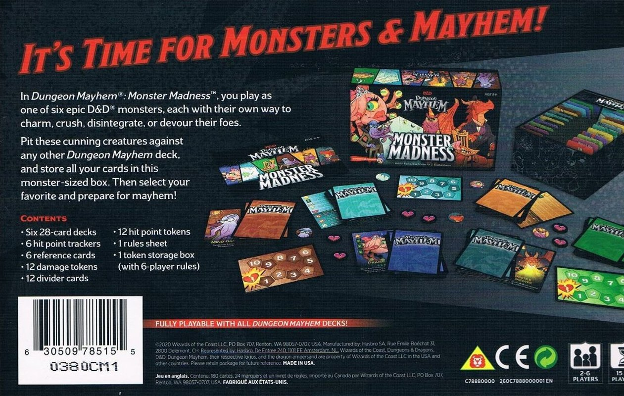 Dungeon Mayhem: Monster Madness back of the box
