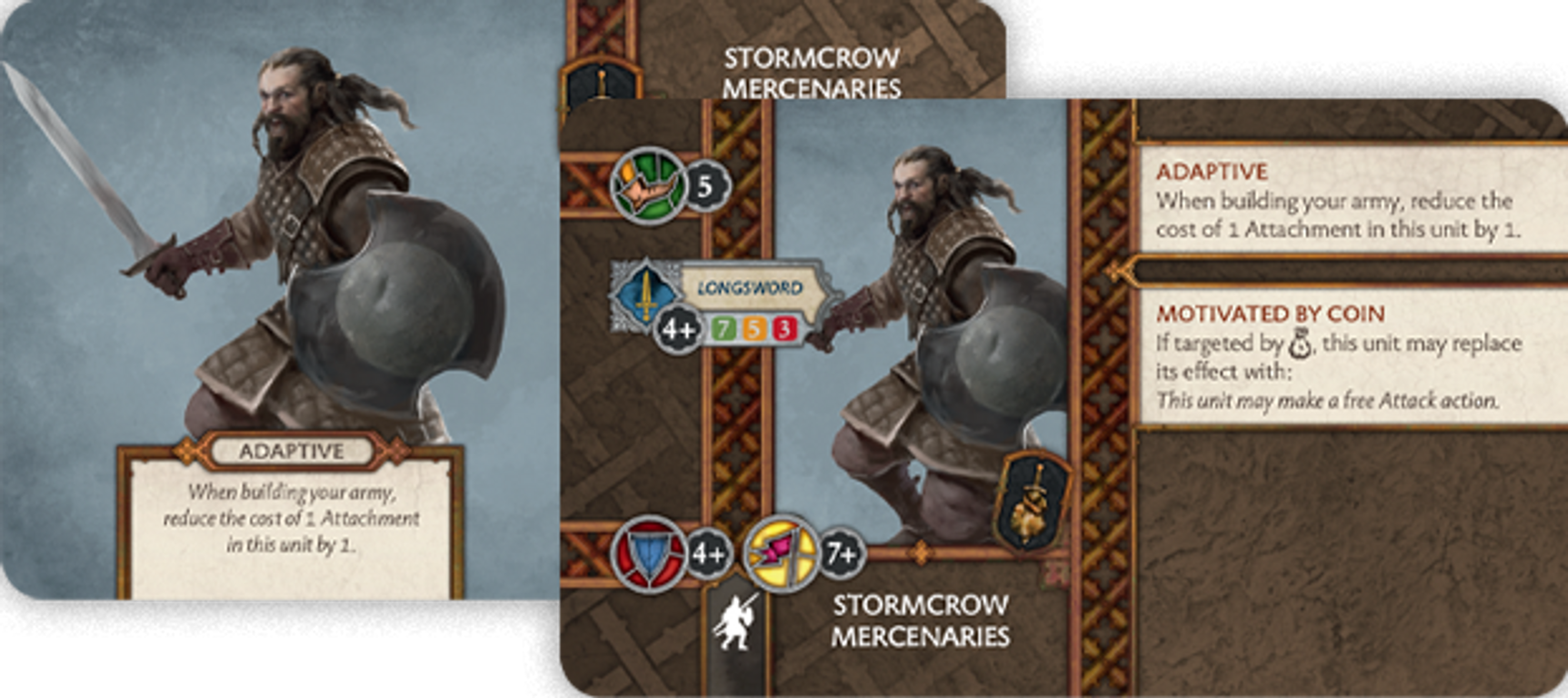 A Song of Fire & Ice: Tabletop Miniatures Game – Neutral Stormcrow Mercenaries cards