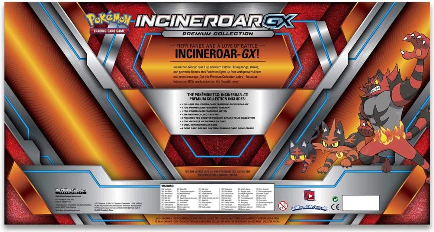 Pokémon TCG: Incineroar-GX Premium Collection back of the box