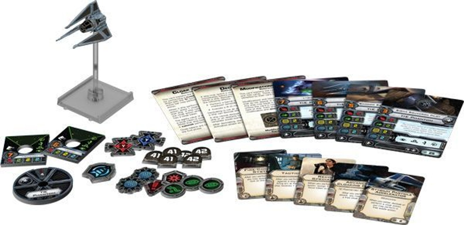 Star Wars: X-Wing Miniatures Game - TIE Phantom Expansion Pack components