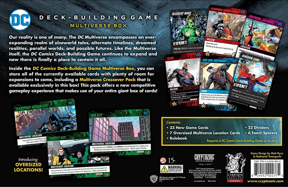 DC Deck-Building Game: Multiverse Box back of the box