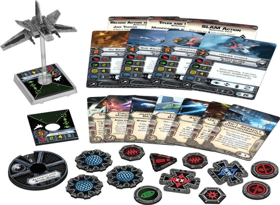 Star Wars: X-Wing Miniatures Game - Alpha-Class Star Wing Expansion Pack components