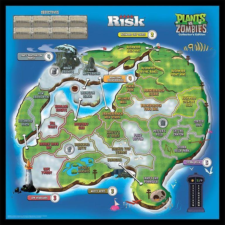 Risk: Plants vs. Zombies game board