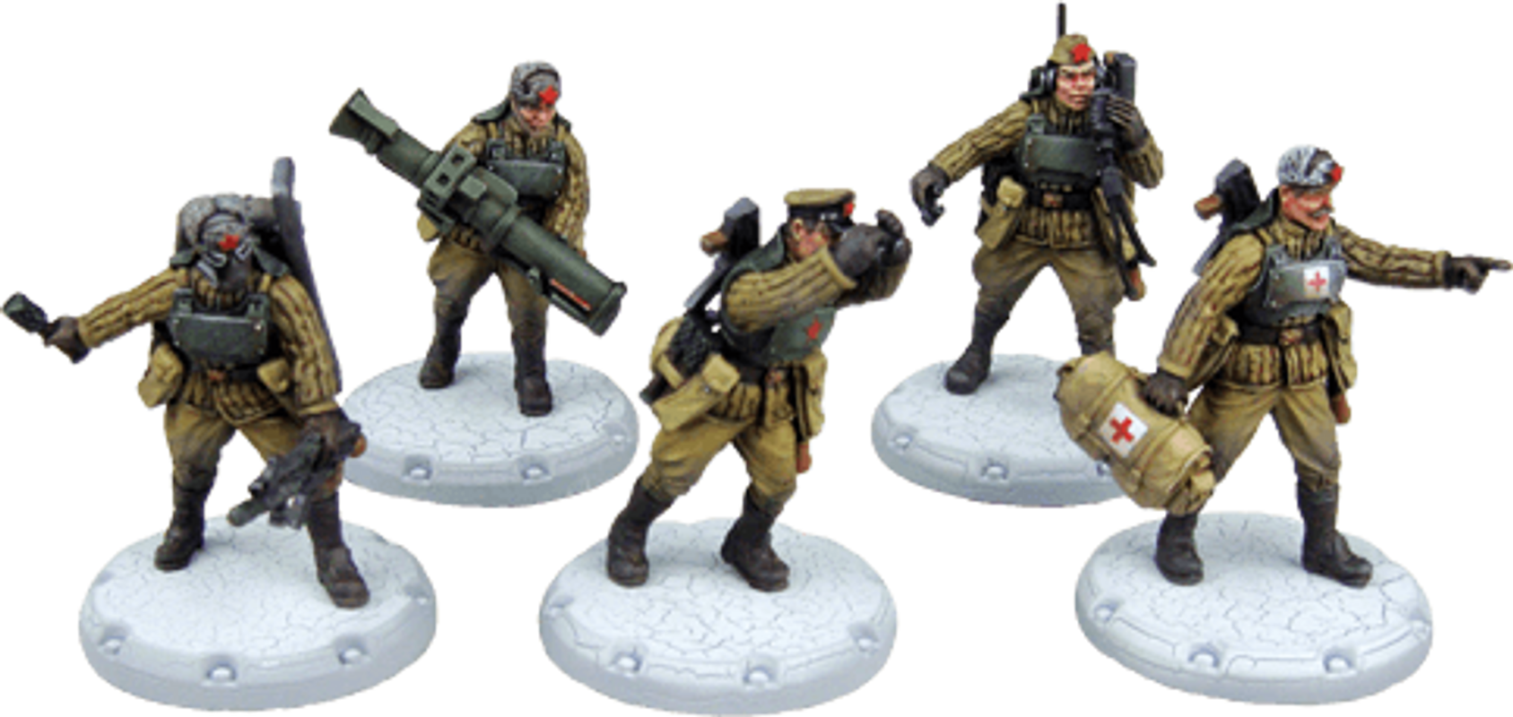 "Dust Tactics: Red Guards Command Squad - ""Red Command"" miniatures"