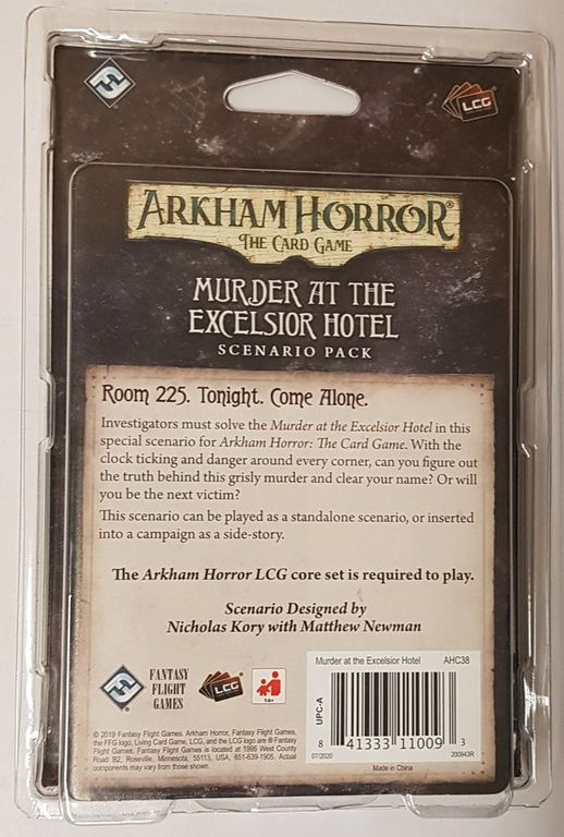 Arkham Horror: The Card Game – Murder at the Excelsior Hotel: Scenario Pack back of the box