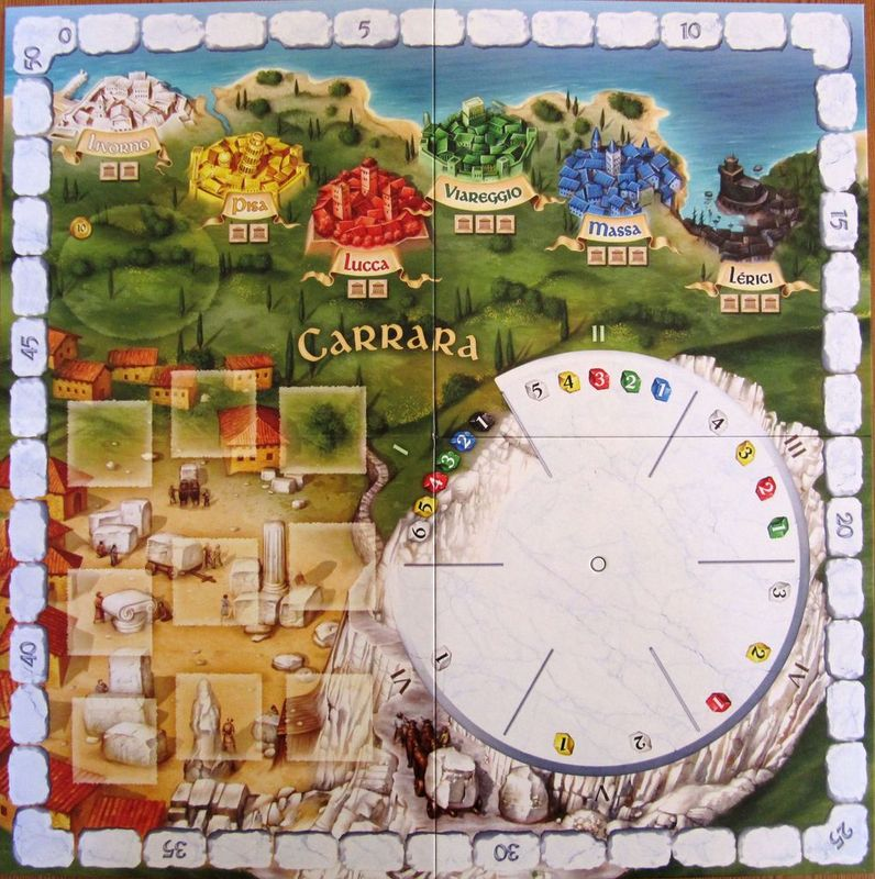 The Palaces of Carrara game board