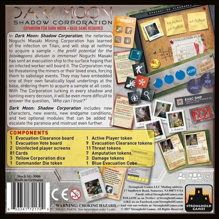 Dark Moon: Shadow Corporation back of the box