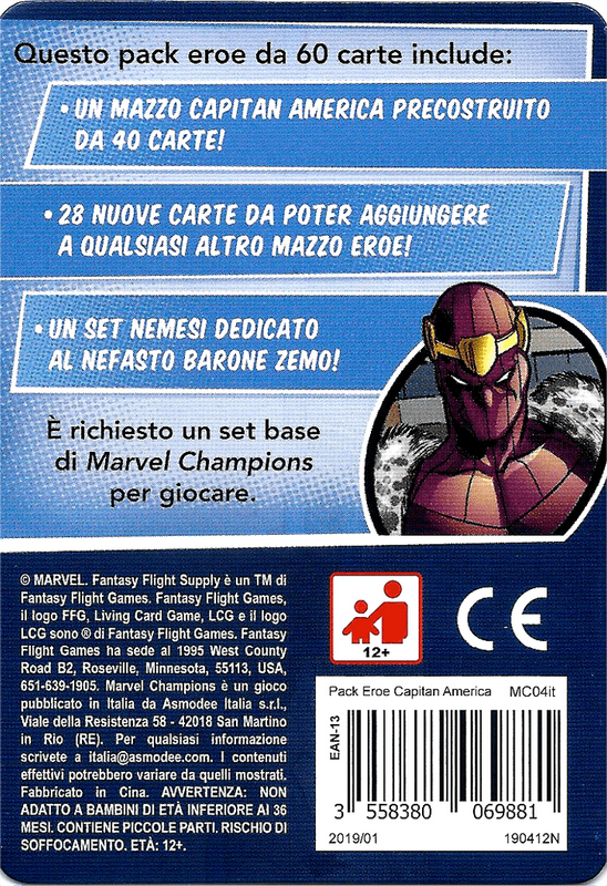 Marvel Champions: The Card Game - Captain America Hero Pack back of the box