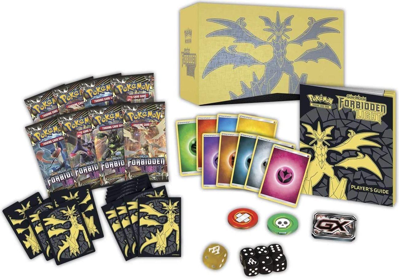 Pokémon TCG: Sun & Moon-Forbidden Light Elite Trainer Box components