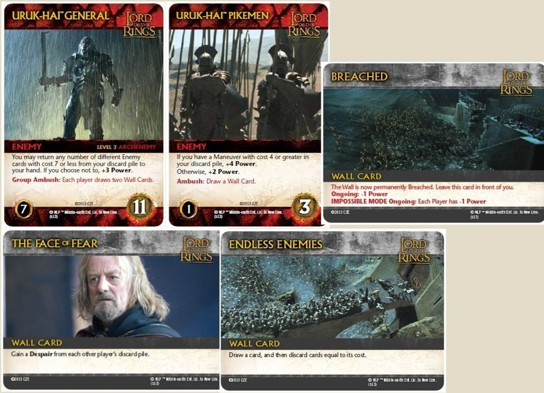 The Lord of the Rings: The Two Towers Deck-Building Game cards