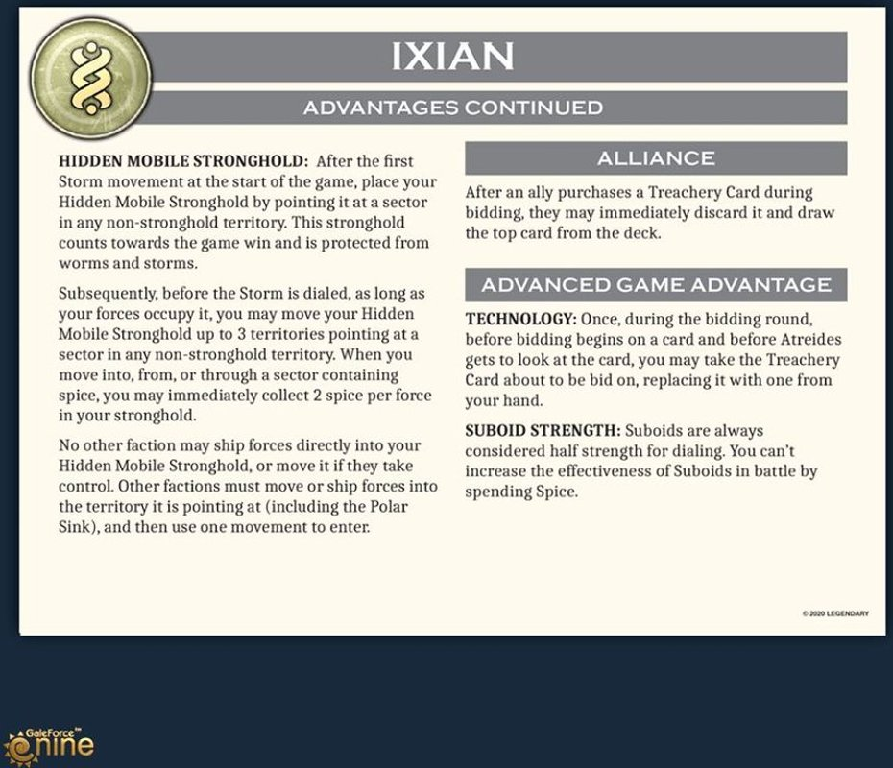 Dune: Ixians & Tleilaxu manual