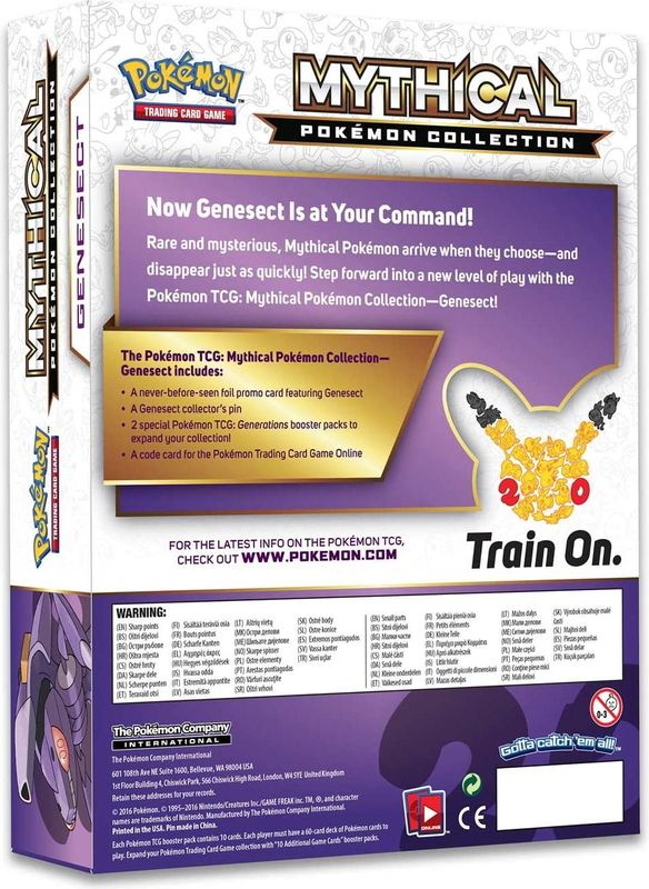 Pokémon Genesect Mythical Cards Collection Box back of the box