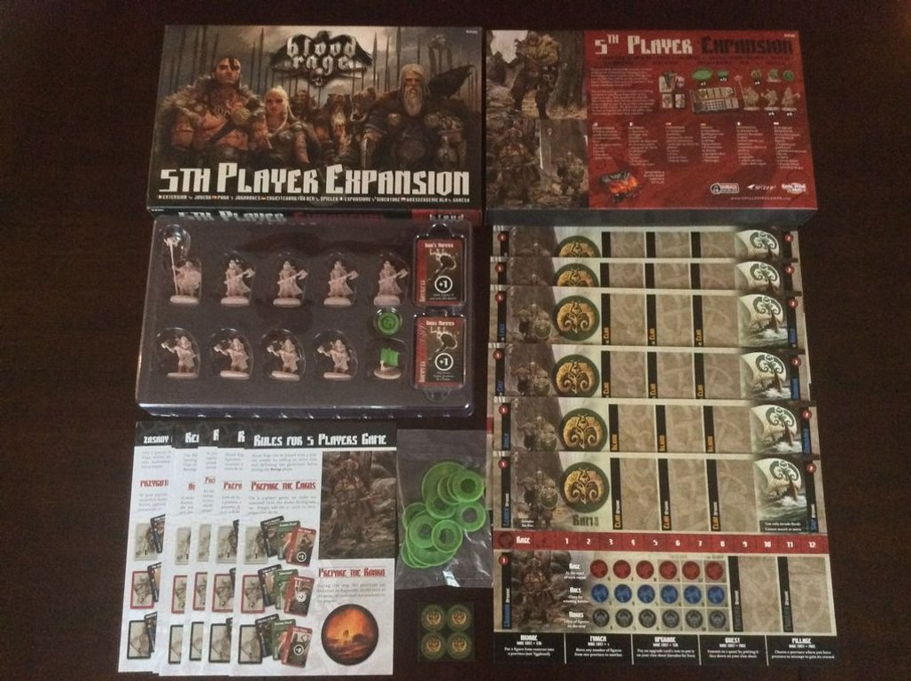 Blood Rage: 5th Player Expansion components