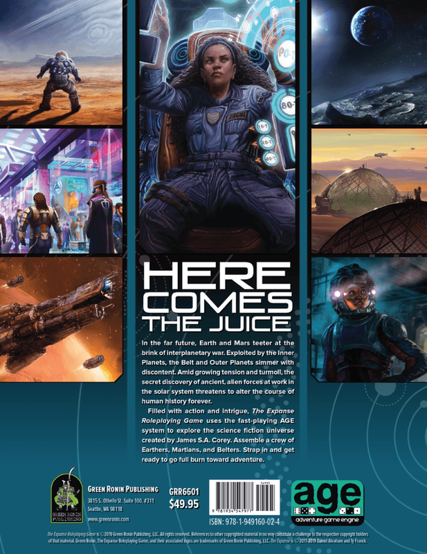 The Expanse Roleplaying Game back of the box