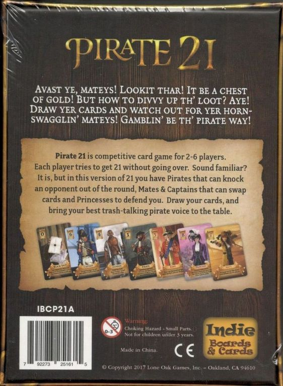 Pirate 21 back of the box
