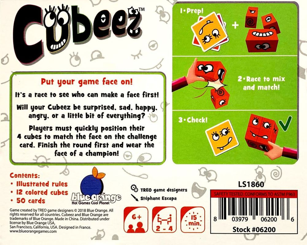 Cubeez back of the box